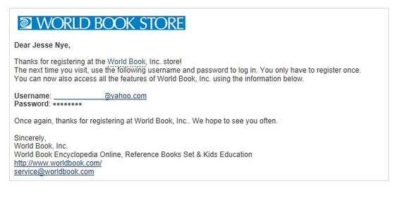 World Book Store sends this automated email when a visitor opens an account on its site.
