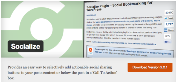 Socialize was designed to make managing and adding social buttons easy.