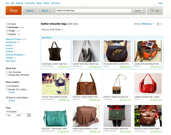"Etsy search results for ""leather shoulder bag."""