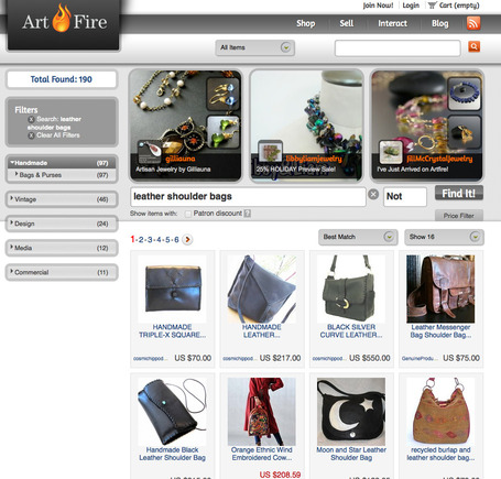 "Artfire search results for ""leather shoulder bag."""