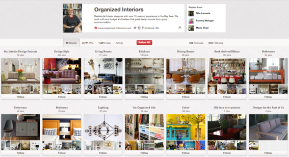 Organized Interiors Pinterest business account.