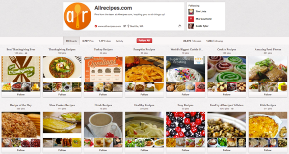 AllRecipes.com Pinterest business account.