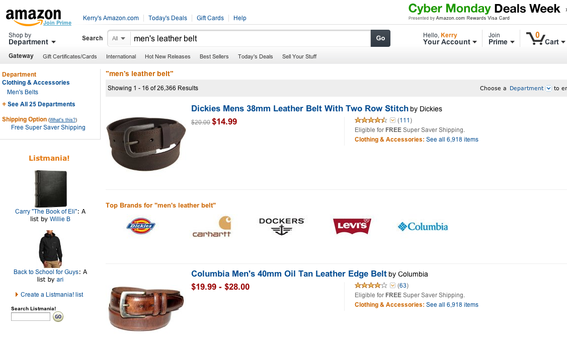 "Amazon likely carries hundreds of selections for most mass-market items. This search for ""men's leather belt"" produced thousands of entries."