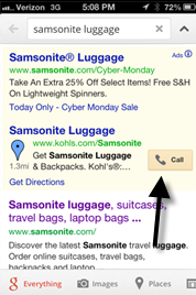 "Shoppers who search from a mobile device will see a ""Call"" button they can click."