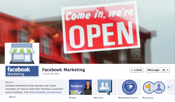 Facebook Marketing is a fan page for small businesses.