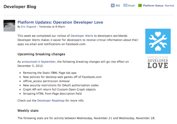 Facebook's developer blog is less useful, but worth attention.