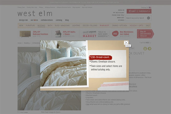 Online furniture and housewares retailer West Elm using automatically generated product videos that play in a lightbox to boost online sales.