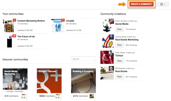 Google+ Communities page.