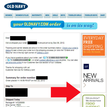 Old Navy devotes the right-hand column in its transactional emails to marketing.