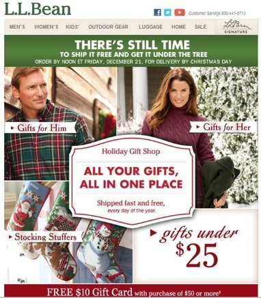 L.L. Bean's emails render well on smartphones and facilitate clicking to that company's mobile website.