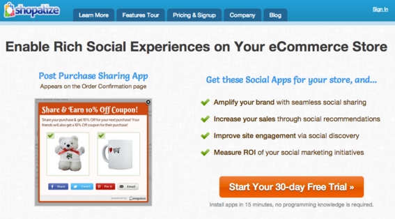 Shoplize is a social discovery platform that works with most shopping carts.
