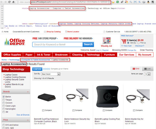 Office Depot's Belkin Laptop Accessories Page