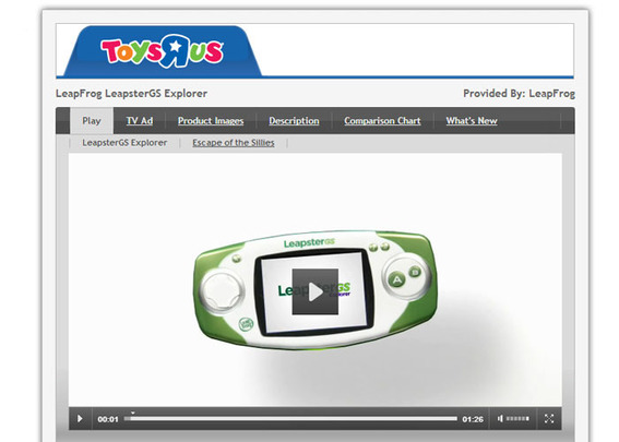 "Toys""R""Us includes a product video on the Leapster GS page."