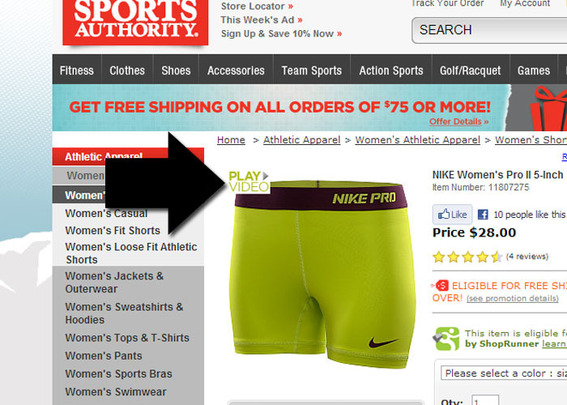 "The Sports Authority gives its ""Play Video"" link a prominent position on the product detail page."