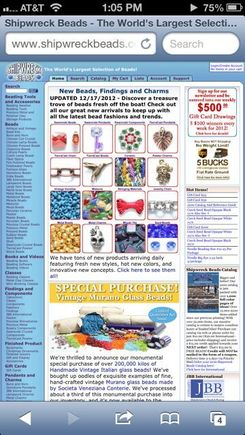 Shipwreck Beads' non-mobile site as displayed on an iPhone.