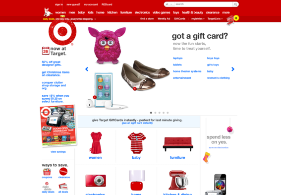 Target's full home page.