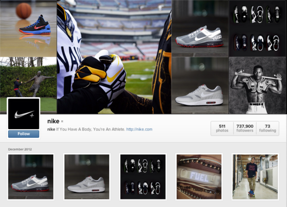 Nike's Instagram profile.