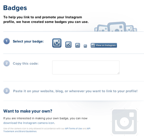 Instagram offers badges for use on websites and blogs.