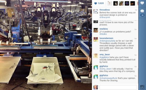 Threadless Instagram photo showing how t-shirts are made.