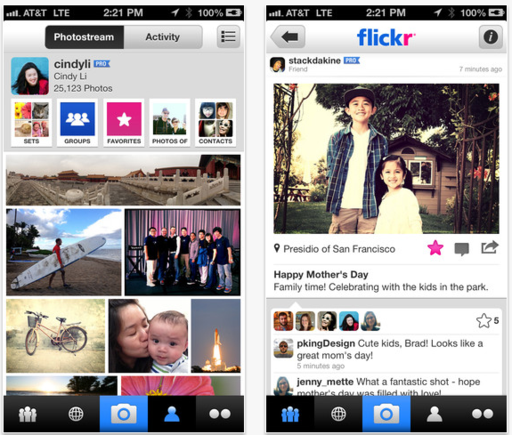 Flickr offers app for iOS, Android and Windows phones.