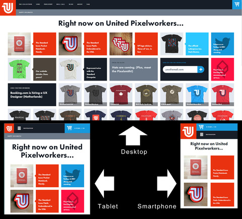 The United Pixelworkers site renders well on all devices.