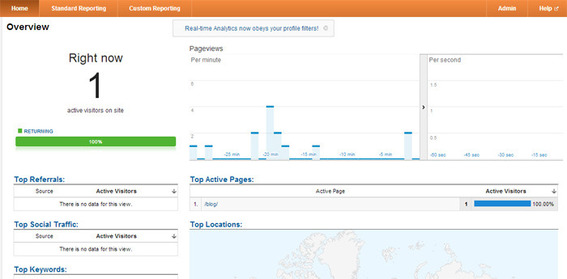 Google Analytics Real Time feature.