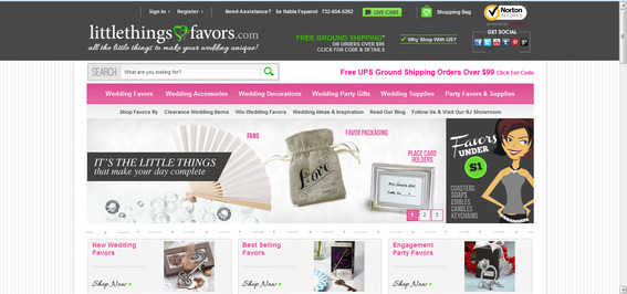 The new Little Things Favors site design, which launched in August 2012.