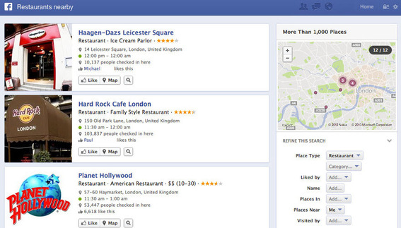 "Example of a Facebook search for ""restaurants nearby"" for a searcher in London."