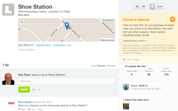 "Foursquare allows users to ""check-in"" to local businesses and receive special offers."