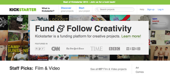 Kickstarter facilitated over $300 million of donation funding in 2012.