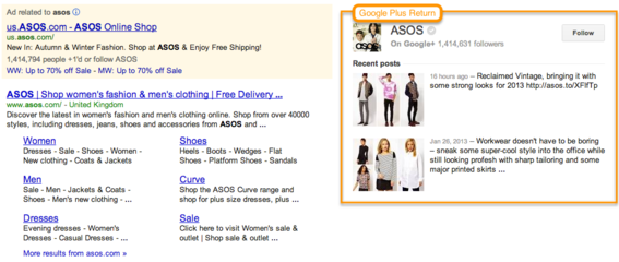 Example of Google+ return in search results.
