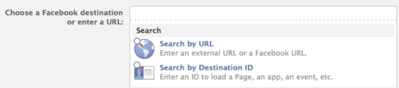 Ads Manager destinations include Pages, apps, events or external URLs.