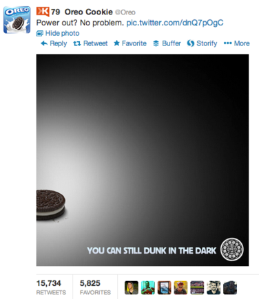 Oreo's blackout post received more than 15,000 retweets.