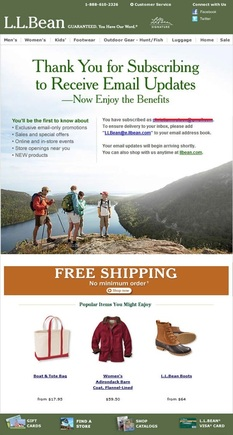"This ""thank you"" email from L.L.Bean includes additional product offers."