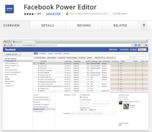Power Editor manages Facebook ads inside Chrome.