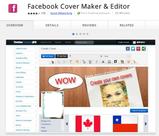 This is a visual graphic editor for making Facebook cover images.