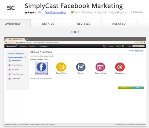 SimplyCast automates Facebook posting and creates apps.