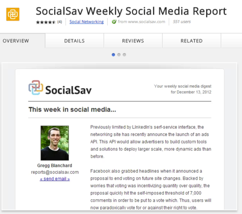 SocialSav is a free, weekly social media report.