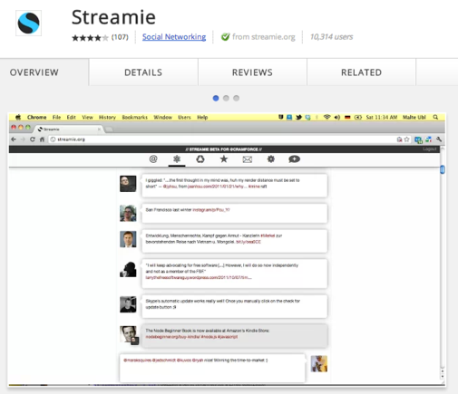 Streamie is a real-time Twitter client that runs within Chrome.