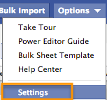 Settings is located in the Options drop-down menu.