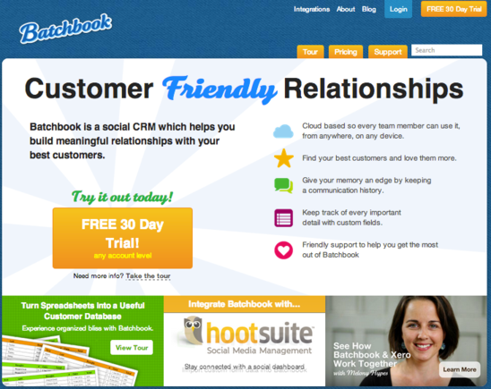 Batchbook integrates with social media management platform HootSuite.