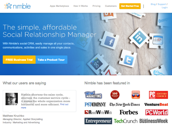 Nimble is a CRM tool with social in mind.