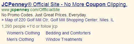 J.C. Penney's paid search ad.