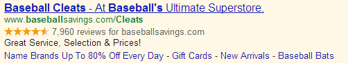 "Sitelinks can now be set up at the Ad Group level. In this example, Sitelinks are ""Name Brands Up To 80% Off Every Day - Gift Cards - New Arrivals - Baseball Bats."""