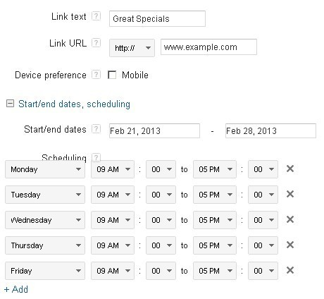 Google's interface for managing Sitelinks.