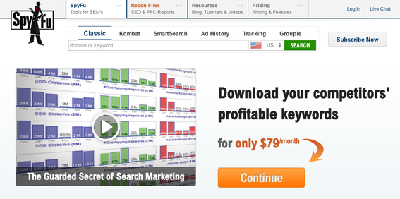 SpyFu can help identify your competitors' keywords for search marketing.