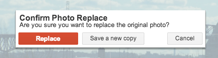 "Click the red ""Replace"" button to change the existing image."