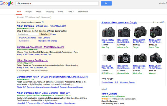 "Example of ""Nikon camera"" Google search results."