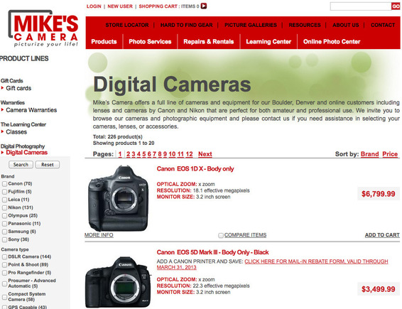 Landing page for Mike's Camera ad.