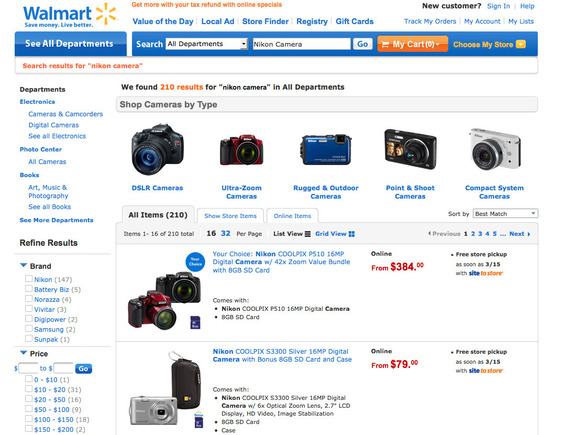 Landing page for Walmart's camera ad.
